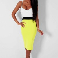 Lolly Neon Yellow Colour Block Midi Dress | Pink Boutique