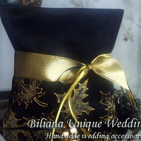 Hand painted Satin ring bearer pillow Maple leaves in gold and black personalized autumn wedding favor