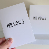 Wedding Vow Jotter Booklets - His And Her Vow Books