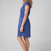 Rebecca Taylor Silk Combo Waisted Dress in Cobalt