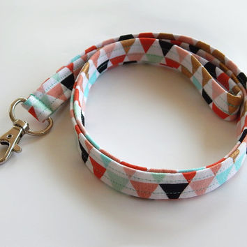 Tribal Lanyard / Triangles / Boho Keychain / Bohemian / Turquoise / Gold / Key Lanyard / Coral / ID Badge Holder / Fabric Lanyard