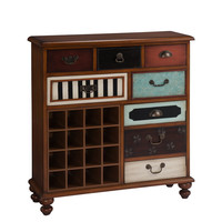 Brown Multicolor Five Drawer One Door Server