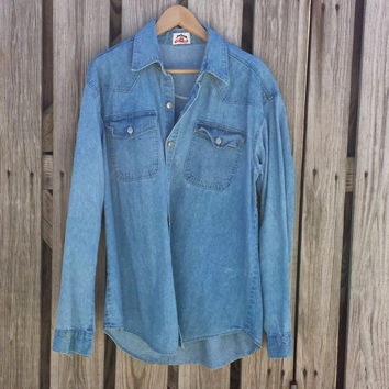 Vintage JIM BEAM Western Denim Shirt - Rockabilly Shirt - XL? - Chest 46""