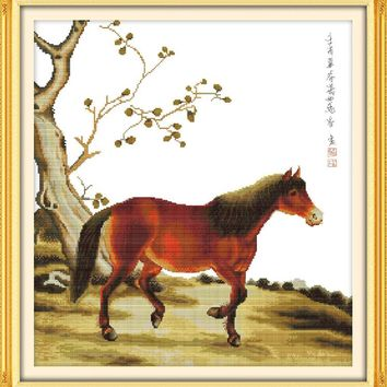 Little Horse Animal DMC Cross Stitch Kits 14CT Canvas 11CT Accurate Printed Embroidery DIY Handmade Needle Work Home Decor Art