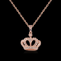 Fashion Rose Gold Necklace Pendants Brand Jewelry  Silver Rhinestone Crown  Necklace For Women