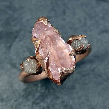 Raw Morganite Diamond Rose Gold Engagement Ring Wedding Ring Custom One Of a Kind Gemstone Ring Bespoke Three stone Ring byAngeline