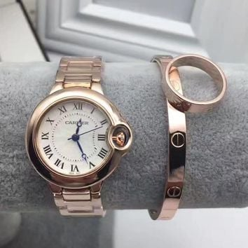 One-nice? Cartier Fashion Quartz Movement Wristwatch Watch Bracelets Rings Three Piece