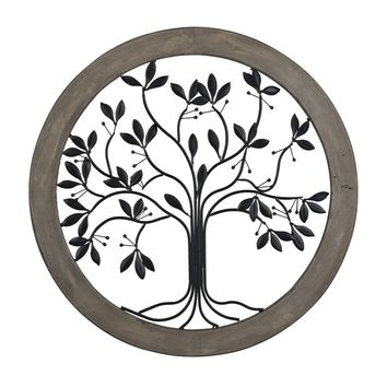Rossington-Circular Wall Panel With Tree Of Life Natural Aged Wood Tone With Grey Antique And Back Metal Work