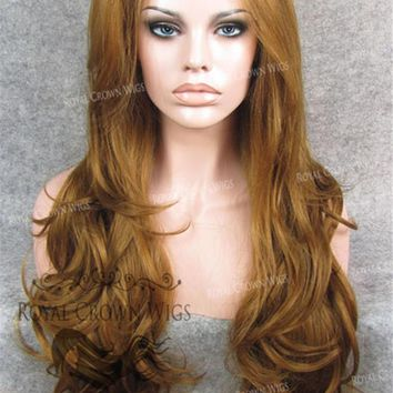 """26"""" Heat Safe Synthetic Lace Front """"Constance"""" with Curly Texture in Reddish Golden Blonde"""