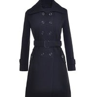 Womens Double Breasted Wool Blends Coat Slim Trench Winter Coat