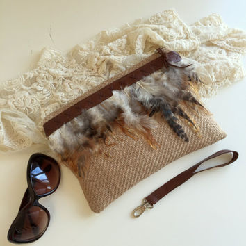 Feather and Leather Embellished Clutch,Burlap Clutch Bag,Boho Leather Clutch,Leather Clutch Bag,Brown Leather Bag,Feather Clutch,Boho Bag