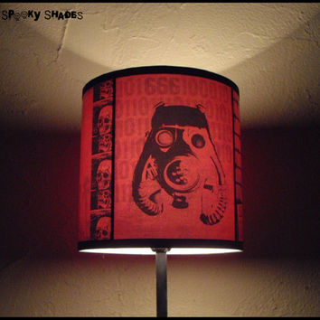 2012 A.D. red lamp shade lampshade - lighting, steampunk decor, home decor, contemporary lampshade,accent lamp shade, gas mask,SPOOKY SHADES