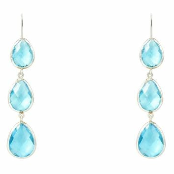 Silver Triple Drop Earring Blue Topaz