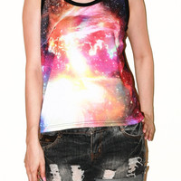 Cosmos Galaxy Universe Space Star Cluster Black Women Top Tunic Singlet Tank Top Sleeveless Photo Transfer Art Punk Rock Half T-Shirt Size M