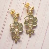 Bee and Hive Earrings : Cute Honeycomb Gold Studs