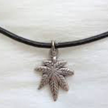 Black Cord Necklace with Pot Leaf Charm
