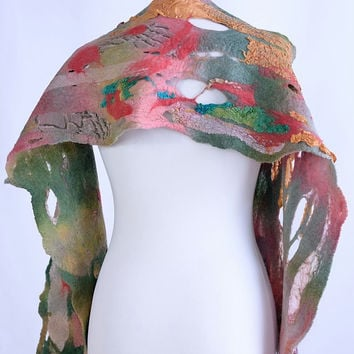 Colorful fiber scarf of collage or patchwork design - artisan nuno felt shawl, wool designer scarf with fabric [S26]
