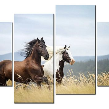 BANMU Animal Paintings Wall Art Two Horses Running Loves 4 Pieces