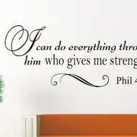 Wall Vinyl Decal Inspirational Quote Sticker Home Decor Art Mural Bible Verse Psalm Philippians 4:13 I can do all this through him who gives me strength Z253