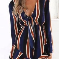 Navy Blue Stripe Plunge Tie Front Long Sleeve Playsuit