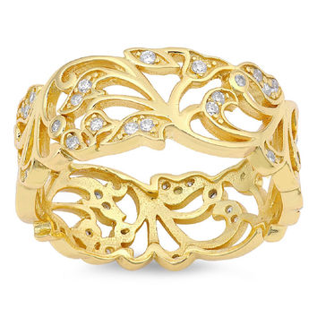 Sterling Silver CZ Gold Tone-Plated Simulated Diamond Vines Filigree Ring 10MM