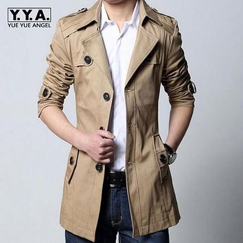 High Quality Men Breasted Trench Coat Boys Cotton Outerwear Casual Coat Mens Jackets Windbreaker Mens Trench Belted Coat