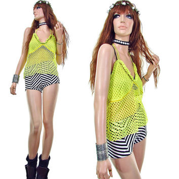 spinning vinyl rave top fishnet top club kid mesh top neon yellow halter top vintage 90s shirt rave shirt burning man clothing 90s grunge
