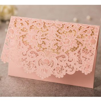 50pcs Pink Vintage Laser Cut Luxury Flora Wedding Invitations Card Elegant Lace Baby Shower Wedding Event & Party Supplies
