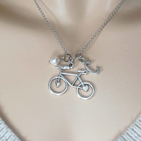 Personalized, Initial, Pearl, Birthstone, Bicycle, Silver, Necklace, Lovers, Friends, Sister, Gift