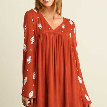 Umgee V neck peasant dress with embroidery details
