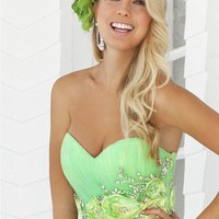 Green Tulle Sweetheart Neckline Flowers Ball Gown Prom Dress