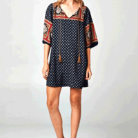 This slip on style relax fitted shift dress features a round neckline with slit open and self-tie tassel design, flare quarter-length sleeves, colorful bohemian pattern print.