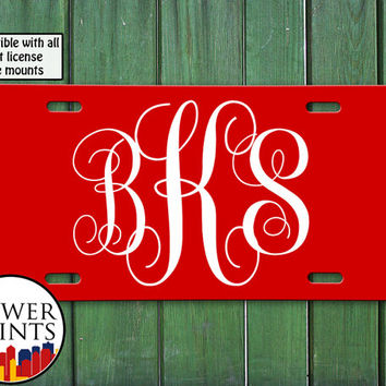Fancy Monogram Initials Mono Red Curly Tumblr Inspired Cursive Cute Accessory Front License Plate Car Tag Vehicle Custom