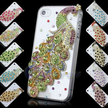 Luxury Pretty Peacock Metal Diamond Bling Crystal For iPhone 4G 4S Back Skin Case Cover