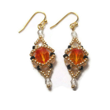 Fireopal Beaded Earrings