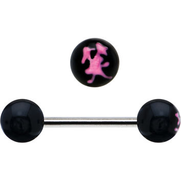 Black and Pink Smile Chinese Symbol Barbell Tongue Ring