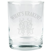 What's Kraken Octopus Squid Etched Glass Tumbler