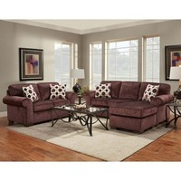 Chelsea Home Furniture Chelsea Home Worcester 2 Piece Living Room Set Chaise in Prism Elderberry
