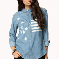 FOREVER 21 Rustic American Flag Denim Shirt Denim