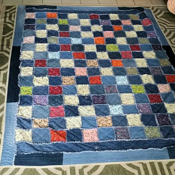sold out - made to order - denim quilt - rag quilt - jeans quilt - homemade quilt - twin quilt - throw quilt - patchwork quilt