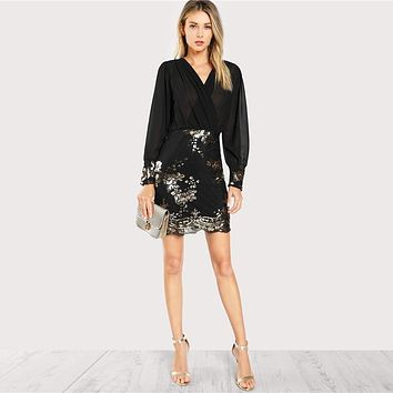 Black See Through Wrap Floral Sequin Bodice Dress