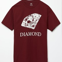 Diamond Supply Co Drawn Diamond Maroon T-Shirt - Mens Tee - Maroon