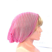 Knitted cotton hat knit pink beani, knitting cotton cap summer cotton cloche colorfull slouche ecofriendly women's tam striped head dress