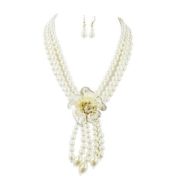Bridal Wedding Style Multi Layered Imitation Pearl Flower Accent Necklace