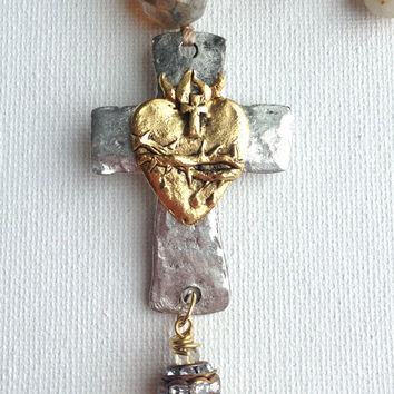 Rutilated Quartz Beaded Layering Necklace, Silver Pewter Cross with Gold Sacred Heart Milagros, Rhinestone Beads, Cashmere Czech Beads,