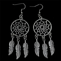 Fashion Jewelry Vintage Silver Plated Dream Catcher Drop Dangle Earrings Gift