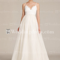 Elegant V-neck Thin Straps Summer Wedding Dress BC664