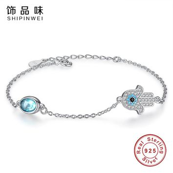 EVOJEW Geniune 925 Sterling Silver Hamsa Hand Bracelets For Women with Petite Blue Crystal High Quality Silver Jewelry Making