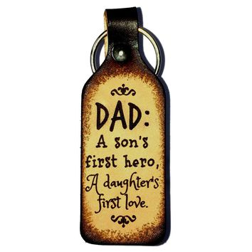 Dad is Son's Hero & Daughter's Love Leather Keychain