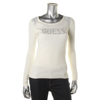 Guess Womens Knit Rhinestone Pullover Top